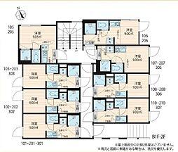 JR総武線 大久保駅 徒歩7分の賃貸アパート 3階ワンルームの間取り