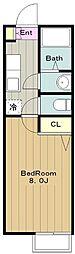 東京都日野市万願寺2丁目の賃貸アパートの間取り