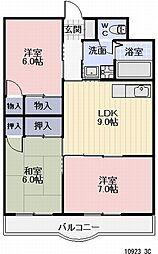 愛知県豊橋市牟呂町の賃貸マンションの間取り