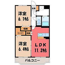 茨城県古河市桜町の賃貸マンションの間取り