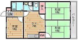 サニープレイス住之江[4階]の間取り