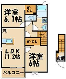 京王線 多磨霊園駅 徒歩18分の賃貸アパート 2階2LDKの間取り