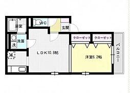 福岡県福岡市早良区飯倉4丁目の賃貸アパートの間取り