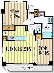 エンリッシュ武蔵野 5階2LDKの間取り