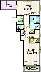 東急東横線 自由が丘駅 徒歩14分の賃貸マンション 2階1LDKの間取り