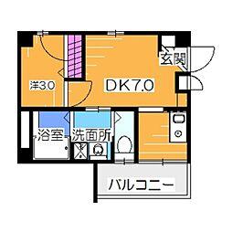 エヌエムトラントヌフウエスト 1階1DKの間取り