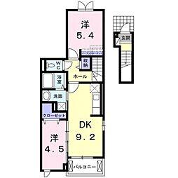 クレール石田 2階2DKの間取り