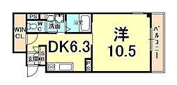 ドルチェ東甲子園 3階1DKの間取り