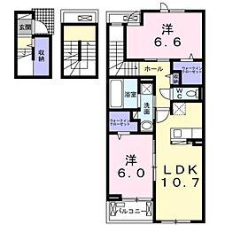 小田急小田原線 本厚木駅 バス40分 中津下車 徒歩6分の賃貸アパート 3階2LDKの間取り