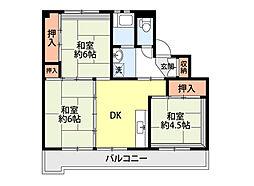 ビレッジハウスひだのもり 1号棟[2階]の間取り