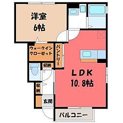 栃木県小山市神鳥谷2丁目の賃貸アパートの間取り