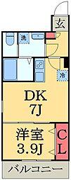AJ幕張本郷North2 1階1DKの間取り