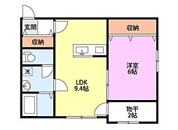 Luce(ルーチェ)II 2階1LDKの間取り