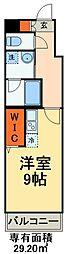京成本線 海神駅 徒歩3分の賃貸マンション 3階ワンルームの間取り