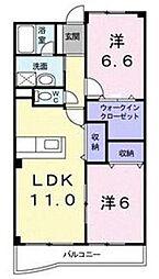 埼玉新都市交通 加茂宮駅 徒歩4分の賃貸マンション 2階2LDKの間取り