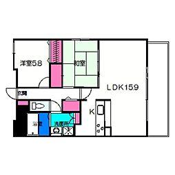 リッツラムセス 6階2LDKの間取り