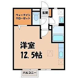 栃木県宇都宮市ゆいの杜8丁目の賃貸アパートの間取り