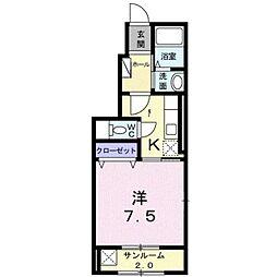 サンフラワーK[1階]の間取り
