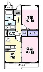 南海高野線 萩原天神駅 徒歩4分の賃貸マンション 3階2DKの間取り