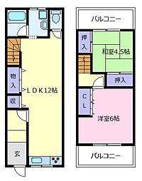 [一戸建] 大阪府松原市東新町5丁目 の賃貸【/】の間取り