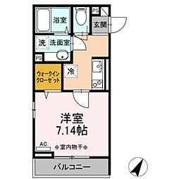 小田急江ノ島線 相模大野駅 徒歩11分の賃貸アパート 3階1Kの間取り
