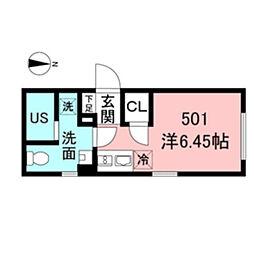 都営新宿線 新宿駅 徒歩5分の賃貸マンション 5階ワンルームの間取り