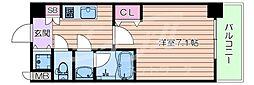 おおさか東線 城北公園通駅 徒歩7分の賃貸マンション 4階1Kの間取り