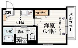 (仮称)矢来町メゾン 2階1Kの間取り