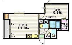 東急田園都市線 用賀駅 徒歩10分の賃貸マンション 1階1LDKの間取り