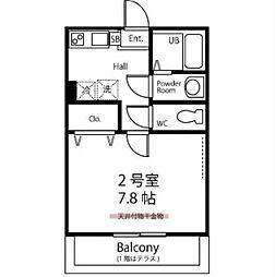 JR南武線 武蔵中原駅 徒歩9分の賃貸アパート 3階1Kの間取り
