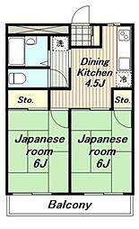 東京都日野市南平6丁目の賃貸マンションの間取り