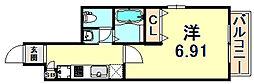 阪急神戸本線 春日野道駅 徒歩1分の賃貸マンション 8階1Kの間取り