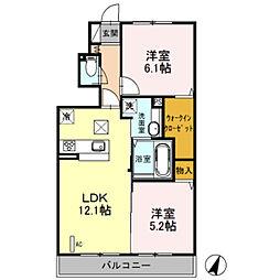 埼玉県川口市三ツ和2丁目の賃貸アパートの間取り