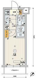 スカイコート品川パークサイドIII 2階1Kの間取り