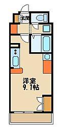 ミランダ富士見III 55686 2階ワンルームの間取り