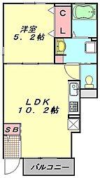 JR川越線 南古谷駅 徒歩15分の賃貸アパート 1階1LDKの間取り