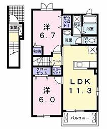 愛知県豊田市松平志賀町マゴイチの賃貸アパートの間取り