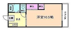 JR大阪環状線 桜ノ宮駅 徒歩3分の賃貸マンション 2階1Kの間取り
