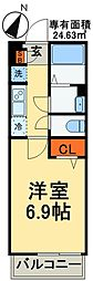 JR京葉線 稲毛海岸駅 徒歩11分の賃貸アパート 1階1Kの間取り