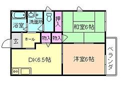 大阪府豊中市熊野町1丁目の賃貸アパートの間取り