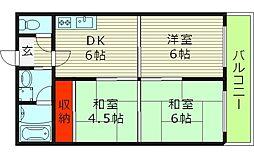 ホワイトハイツ 4階3DKの間取り