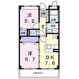 南海高野線 萩原天神駅 徒歩10分の賃貸マンション 3階2DKの間取り
