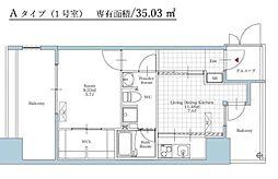 福岡市地下鉄空港線 大濠公園駅 徒歩3分の賃貸マンション 4階1DKの間取り