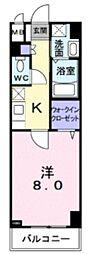 JR中央線 国分寺駅 徒歩12分の賃貸マンション 3階1Kの間取り