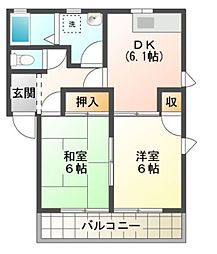 愛知県豊橋市小向町字北小向の賃貸アパートの間取り