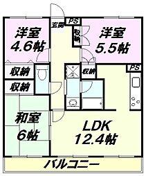 東京都八王子市めじろ台2丁目の賃貸マンションの間取り