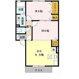 南海高野線 萩原天神駅 徒歩5分の賃貸アパート 1階2DKの間取り