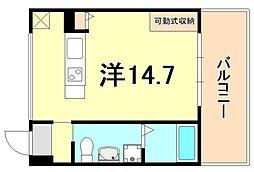JR東海道・山陽本線 三ノ宮駅 徒歩13分の賃貸マンション 2階ワンルームの間取り