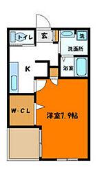 ハウスルーモ 1階1SKの間取り