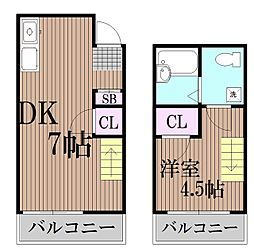東京都大田区西蒲田2丁目の賃貸アパートの間取り